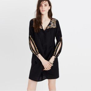 Madewell Black Embroidered Floral Dress